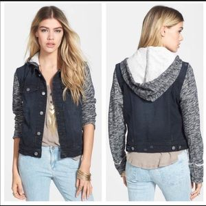Free People Black Hooded Knit Denim Jacket Size S